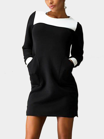 Contrast T-shirt Dress with Front Pockets