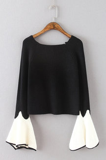 Cute Black Round Neck Long Flares Sleeves Sweater