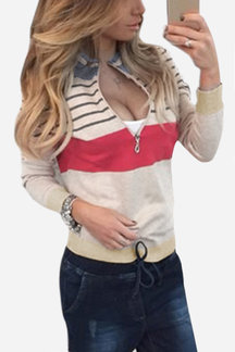 Khaki Fashion Knit Striped Long Sleeves Zip Up Sweatshirts
