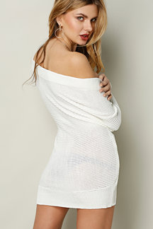 White Sexy Off-shoulder Wrapped Sweater