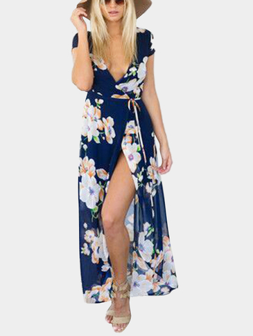 Random Floral Print V-neck Splited Hem Maxi Dress