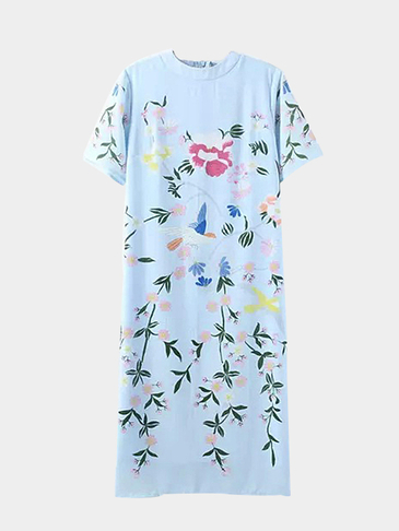 Back Split Floral Printing Midi Dress