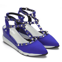 Blue Ankle Strap Heels with Rivet Design