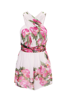 Floral Print Wrap Front Playsuit with Crossed Back