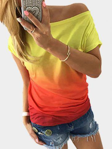 Fashion Round Neck Gradient T-shirt