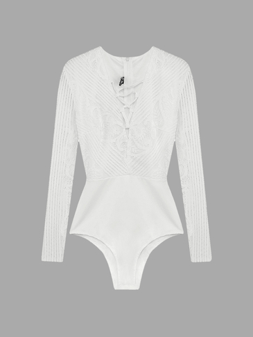 White Lace Up Bodysuit