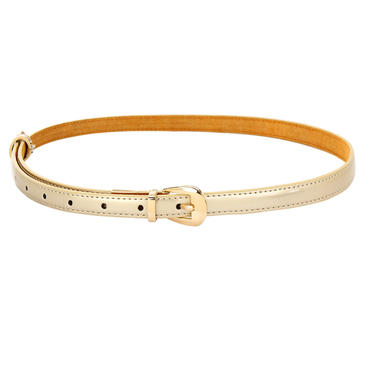 Gold Smooth Leather-look Skinny Buckle Waist Belt with Metal Tip