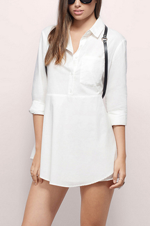 White Layered A-Line Shirt Dress
