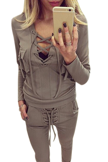 Khaki Lace-up v-neck Sweatshirt & Side Pockets Pants Co-ord