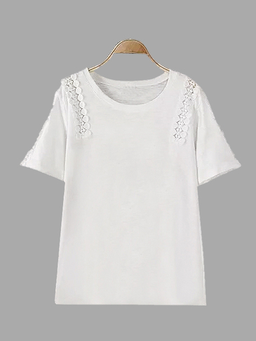 White Loose Casual Hollow Out Details Lace Design T-shirt