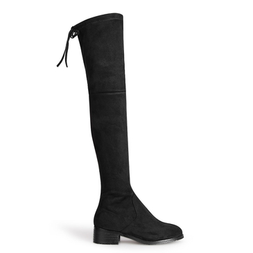 Suede Over The Knee Tie Back Flat Boots