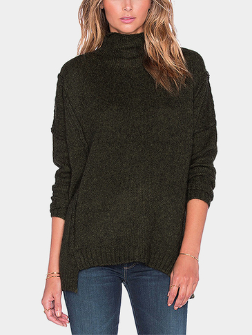 High Neck Pullover Long Sleeve Side Split Jumper