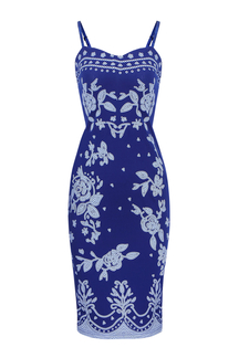 Floral Printing Midi Dress in Navy