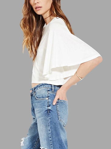 White Round Neck Blouse with Flared Sleeves