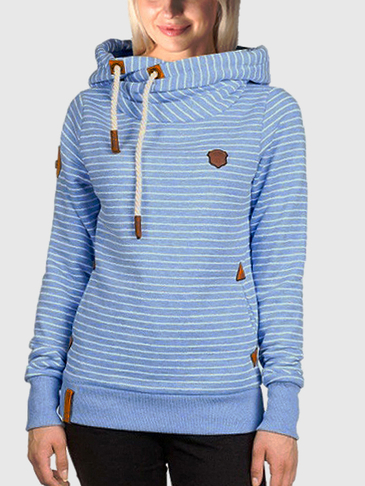 Stripe Pattern Two Front Pockets Hoodie
