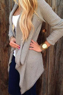 Casual Long Sleeves Irregular Hem Cardigan