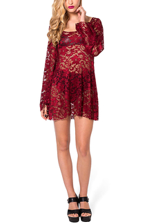 Hollow Out Lace Mini Dress
