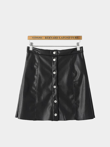 Button-up Leather-look Mini Skirt