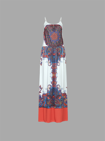 Bohemia Style Random Vintage Pattern Stretch Waistband Cami Maxi Dress