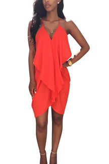 Orange Frill Open Back Chiffon Dress