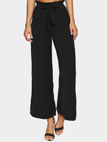 Black Elasticated Self-tie Wide Leg Pants