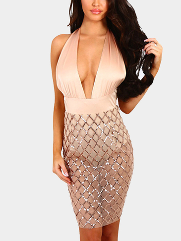 Beige Sexy Satin Deep V Neck Backless Sequins Dress