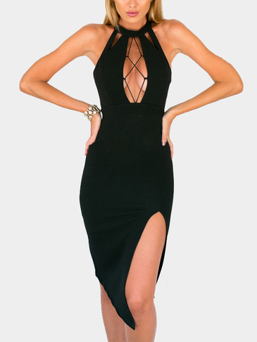 Sexy Open Back Splited Hem Midi Dress