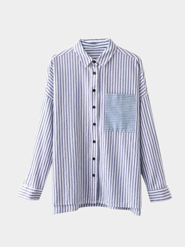 Casual Stripe Pattern Shirt In Blue And White