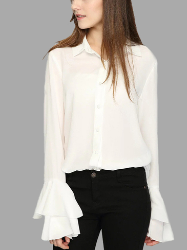 White See-through Classic Collar Flared Sleeves Shirt