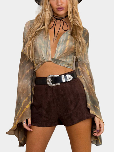 Tie Dye Wrap Random Print Oversized Bell Sleeves Crop Top