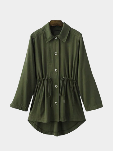 Army Green Drawstring Wasit Trench Coat With Embroidery Pattern