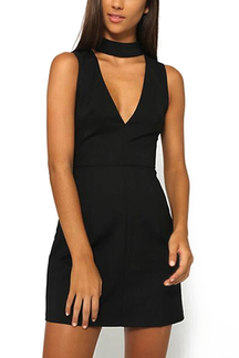 Black V-neck Sleeveless Simple Mini Dress