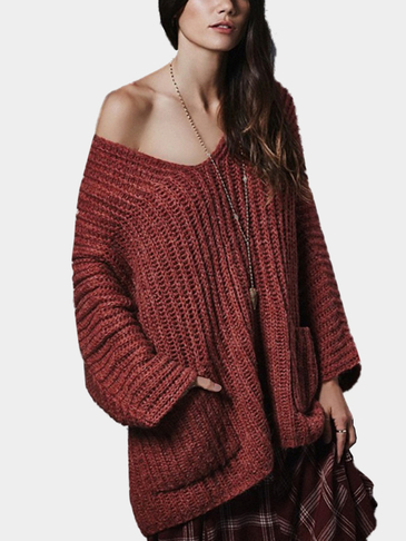 Oversize Burgundy Raglan Sleeve Pocket Front Plunge Sweater