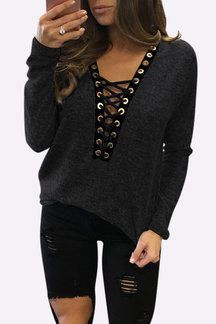 Sexy Deep V-neck Crossed Front Casual Blouse in Black