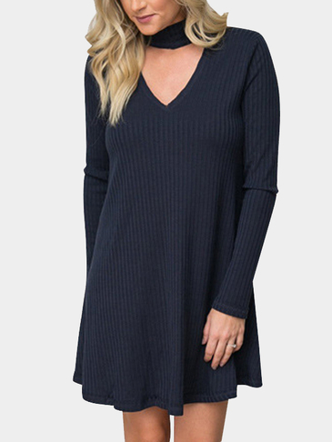 Dark Blue V-neck Stripe Knit Detail Ruffled Hem Mini Dress
