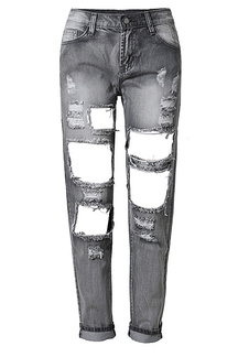 Skinny Jeans With Shredded and Open Rips