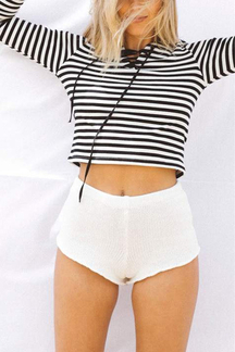 Fashion Stripe V-neck Lace-up Front Crop Top