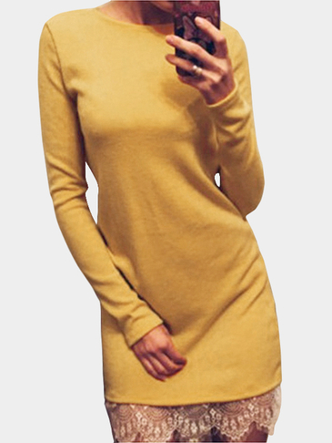 Yellow Lace Splice Slim Fit Long Sleeve Dress