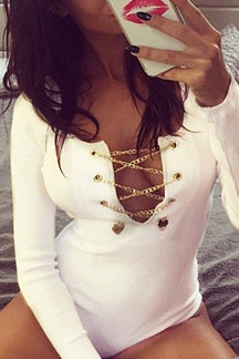 White Sexy Lace-up Long Sleeves Bodysuit