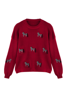 Red Zebra Emboridery Jumper with Tassel
