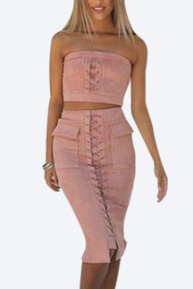 Pink Suede Lace-up Tube Top & Midi Splited Hem Skirt Co-ord