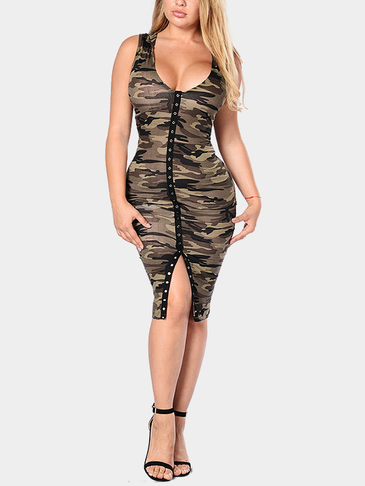 Sexy Bodycon Camouflage Pattern Dress