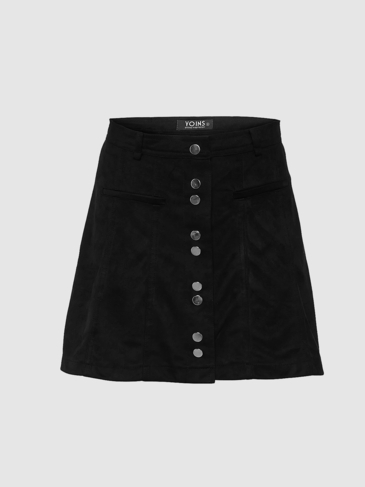 Suede High-rise Button A-line Mini Skirt