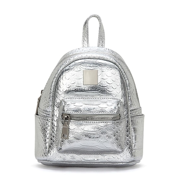 Metallic Croc Leather-look Mini Backpack in Silver
