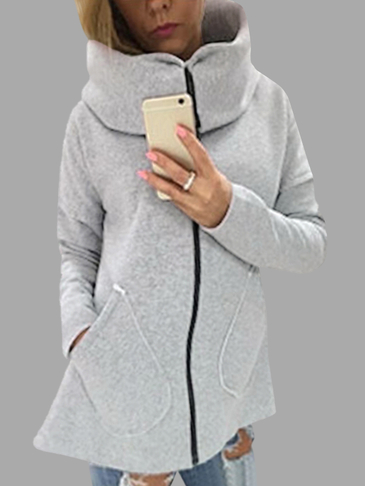 High Neck Zipper Closure Causal Sweatshirt