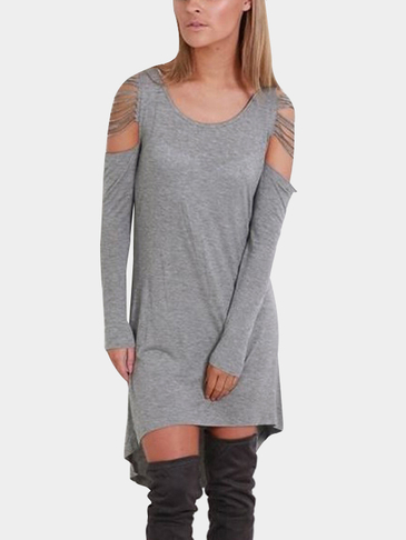 Grey Round Neck Cold Shoulder Irregular Hem Thin Casual Dress