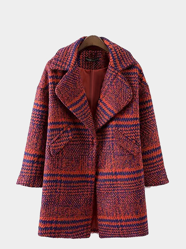 Plaid Lapel Woolen Coat in Red