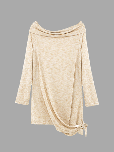 Plus Size Light Khaki Off Shoulder T-shirt with Tie Waist