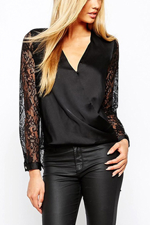 Wrap Front Shirt with Lace Sleeve and Back
