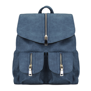 Blue Backpack with Zipper Embellished